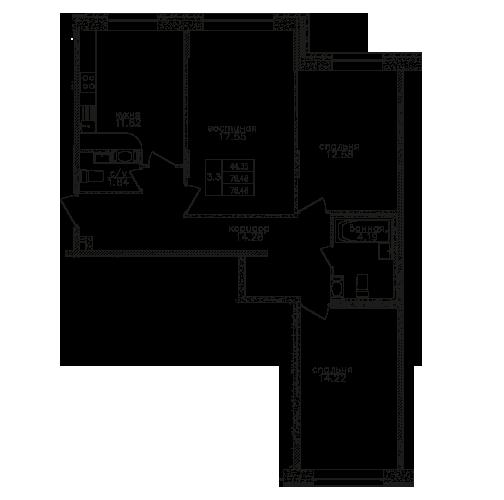 Планировка Трёхкомнатная квартира площадью 78 кв.м в ЖК «Вариант»