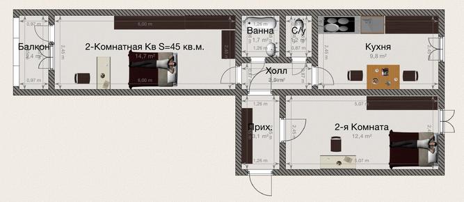 Планировка Двухкомнатная квартира площадью 45 кв.м в ЖК «Вариант»